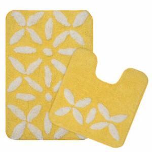 2 Pc Yellow Micro Polyester Bathmat with Contour Set Of 40 x 60 cm - Super Soft