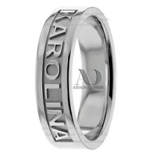 Solid 14K White Gold Name Motif His Hers 7mm Wide Wedding Band Ring