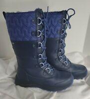 UGG Australia Atlason Womens 9.5 Reg Navy Blue Nylon Waterproof Boots Mid Calf