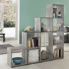 Wilmes: Treppenregal mit 10 Fächer - Raumteiler Bücherregal Regal - Betonoptik