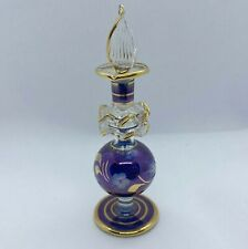 Egyptian Hand Blown Glass Perfume Bottle Purple Gold Trim Small Etched Floral
