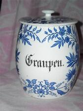 Imperial Bonn Ludwig Wessel Blue & White Graupen( Barley) Pottery Canister c1900