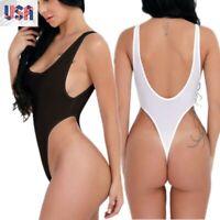 US_Women Sheer Lingerie High Cut Leotard Tops Bodysuit Thong Monokini Swimwear