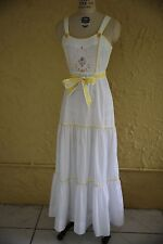 Vtg 60s 70s White Dress Maxi Dress Sundress Long Young Edwardian Embroidered