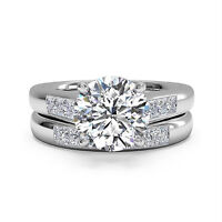 Round Cut 1.30 Ct Diamond Engagement Ring Band Sets 14k White Gold Size 9.5 10