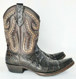 R. SOLES Judy Rothschild Caiman Skin Chocolate Leather Cowboy Boots men's UK 8.5