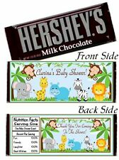 12 Jungle Safari Animal Birthday Party OR Baby Shower Candy Hershey Bar Wrappers