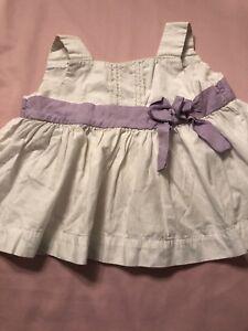 Used Janie & Jack White Lavender Tea Time Shirt Sz 18-24 Mo