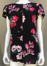 NEW ANN TAYLOR Black Floral Button Down Career Blouse Shirt Top 14 16 XL