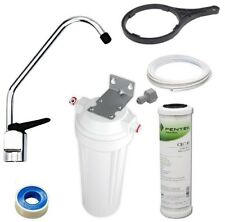 "Carbon Water Filter 0.5 Mic | Under Sink Bench Housing Kit + Tap 10"" x 2.5"" DIY"