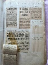 Vintage MITCHEL FIELD Scrap Book - Newspaper Articles dated 1922-1924, 152 pages