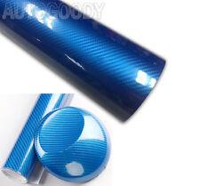 "12"" x 60"" Premium 5D HIGH GLOSS Blue Carbon Fiber Vinyl Bubble Free Air Release"