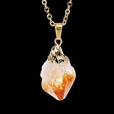 Jewelry Nature Stone Citrine Pendant Crystal Quartz Pendant Gold Plated Necklace