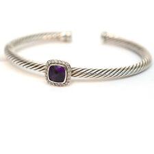 New DAVID YURMAN 4mm Noblesse Pave Station Cuff Bracelet in Amethyst & Diamonds