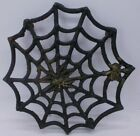Vintage Cast Iron Spider Web Trivet Halloween Black 6'