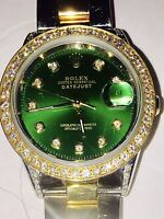 ROLEX MENS WATCH -100% AUTHENTIC- GREEN FACE- DATE JUST