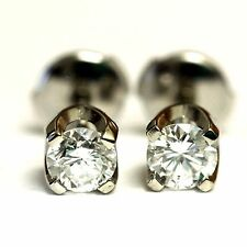 New GIA certified 14k white gold .76ct round diamond earrings 1.5g SI2 F womens