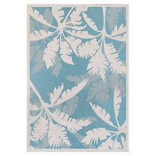 "5x8 (5'3"" x 7'6"") Tropical Coastal Palm Aqua Blue Indoor Outdoor Area Rug"