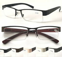 L417 Superb Mens' Semi Rimless Metal Reading Glasses/Spring Hinges Stylish Specs