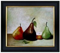 Framed, Still Life with Pears, Quality Hand Painted Oil Painting 20x24in