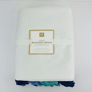 Pottery Barn White Blackout Drape Curtain Panel 52x63 Multicolor Tassel