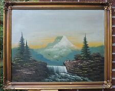 MOUNT of HOLY Cross Colorado Landscape Waterfall Painting by WRIGHT c1940s ART