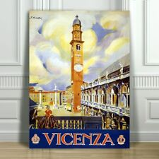 VINTAGE TRAVEL CANVAS ART PRINT POSTER - Vicenza Clock Tower - Italy - 18x12""