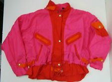 Vintage Andy Johns Pink Red Orange Windbreaker Jacket Women's Size M