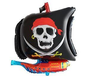 Pirate Ship shaped Foil Balloon Skull & Crossbones Boys Party Decoration