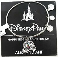NEW Disney Alex And Ani Just Married Cinderella Carriage Silver Bangle Bracelet