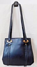Vintage MCM Navy Blue Faux Leather  Woman's Purse Handbag Brass hardware Retro