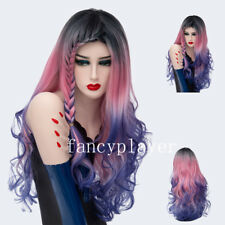 Halloween Mermaid Waterfall Braid Long Wavy Dark Roots Cosplay Wig Pastel Spiral