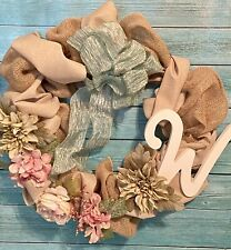 "Handmade Burlap Mesh Spring Summer Green Pink Flowers Blue Bow Wreath ""W"" Wood"