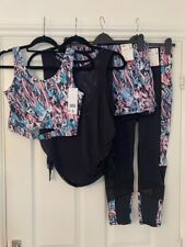 Bnwt F&F Active Womens Ladies Exercise Gym Tops, Shorts & Leggings Outfit - Uk12
