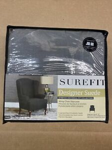 Sure Fit Designer Suede Wing Chair Slipcover Gray