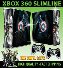 XBOX 360 SLIM CAPTAIN AMERICA THE AVENGERS STICKER SKIN & 2 X CONTROL PAD SKINS