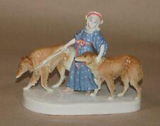 Porzellanfigur Galluba & Hofmann Ilmenau Mädchen mit Windhunden Windhund Barsoi