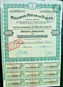 Molinos Rio de la Plata S.A. historische Aktie Buenos Aires 1957 Argentinien