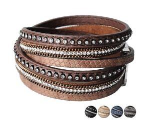 Women's Elegant Rhinestone Beaded Shiny PU Leather Wrap Fashion Bracelet