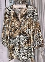 NEW Plus Size XL Brown Black Blouse Leopard Animal Print Top Silver Shirt