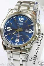 MTP-1314D-2A Blue Casio Stainless Steel Band Men's Watches 50M Date Brand-New