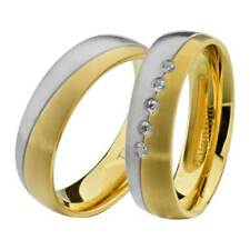 & Hers Wedding Ring Sets Titanium Gold-Tone Round Cubic Zirconia His