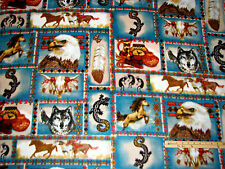 Wolf Kokopeli Horses Indian Native American Southwest Fleece Fabric by the Yard