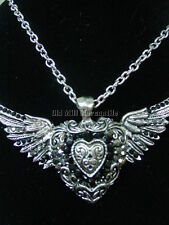 STEAMPUNK GOTHIC Victorian Heartwings silver-toned NECKLACE