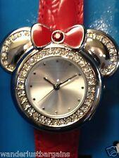 New Watch LOT 10 DISNEY Store MINNIE MOUSE Quartz Wristwatch Black Red Leather