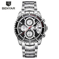 BENYAR Men's Quartz Wrist Watch Luxury Stainless Steel Band Military Watches