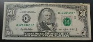 Vintage $50 FEDERAL RESERVE NOTE >1993-B< F-VF >SUPER FAST SHIPPING!!!
