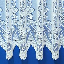 Andrea Heavyweight Jacquard Net Curtain In White Or Cream - Sold By The Metre