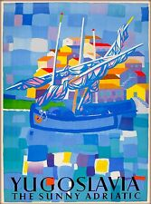 Yugoslavia Sunny Adriatic Yugoslavian Croatia Vintage Travel Art Poster Print