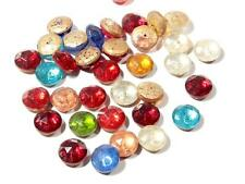 (35) 14 mm Czech vintage faceted mixed color glass cabochon headpin beads